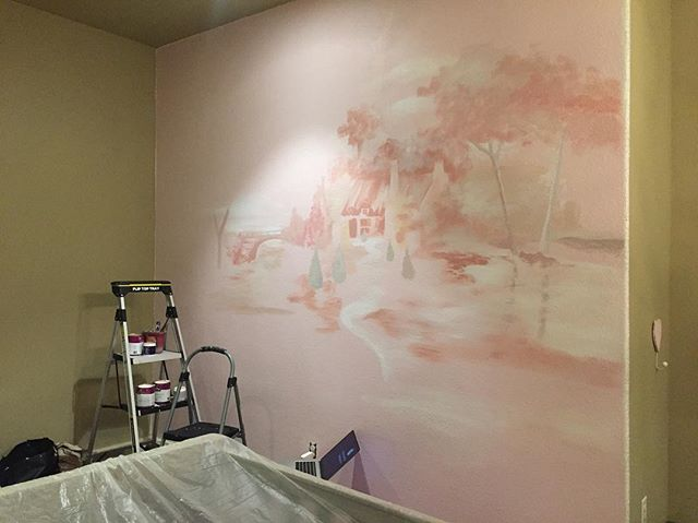 Proccess #houstonmuralist #custommurals #bedroom #femme #french #pink