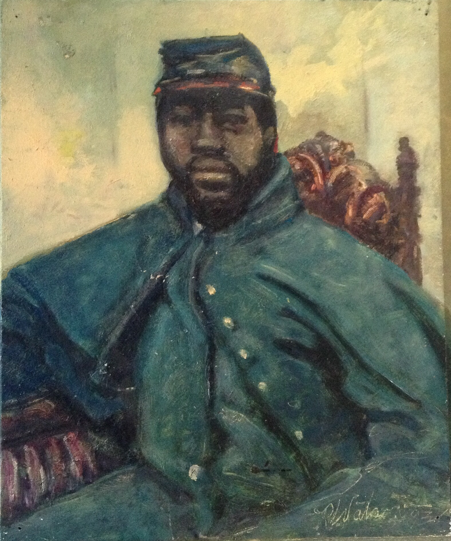 """Old Soldier, oil on wood panel, 11"""" x 9"""""""