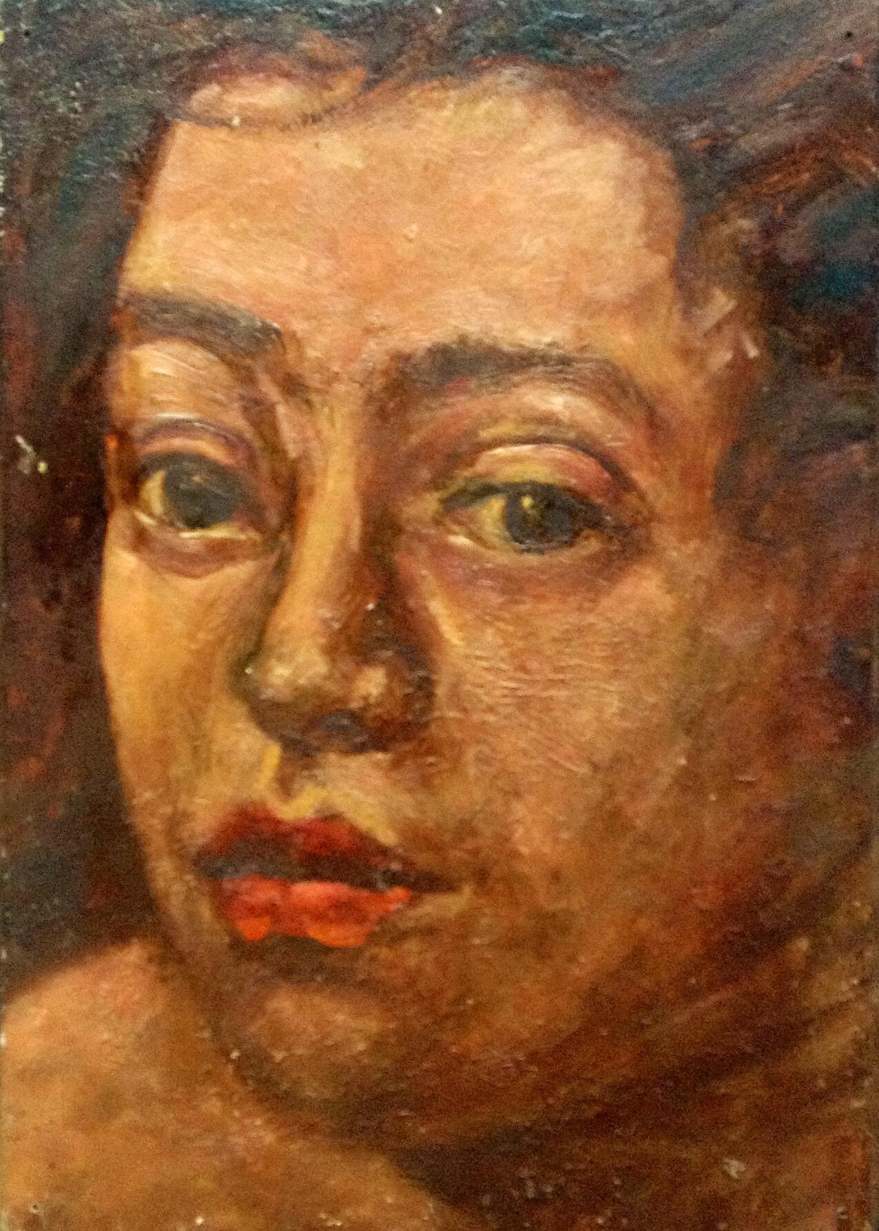 "Study for Bertha, oil on wood panel, 11"" x 9"""