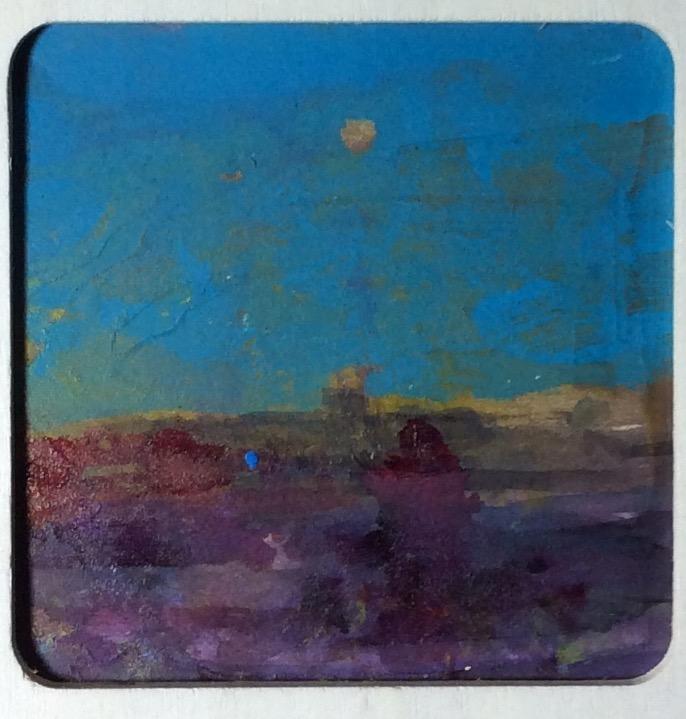 """Foggy Blue Night, acrylic on plexi,3.5"""" x 3.5"""""""