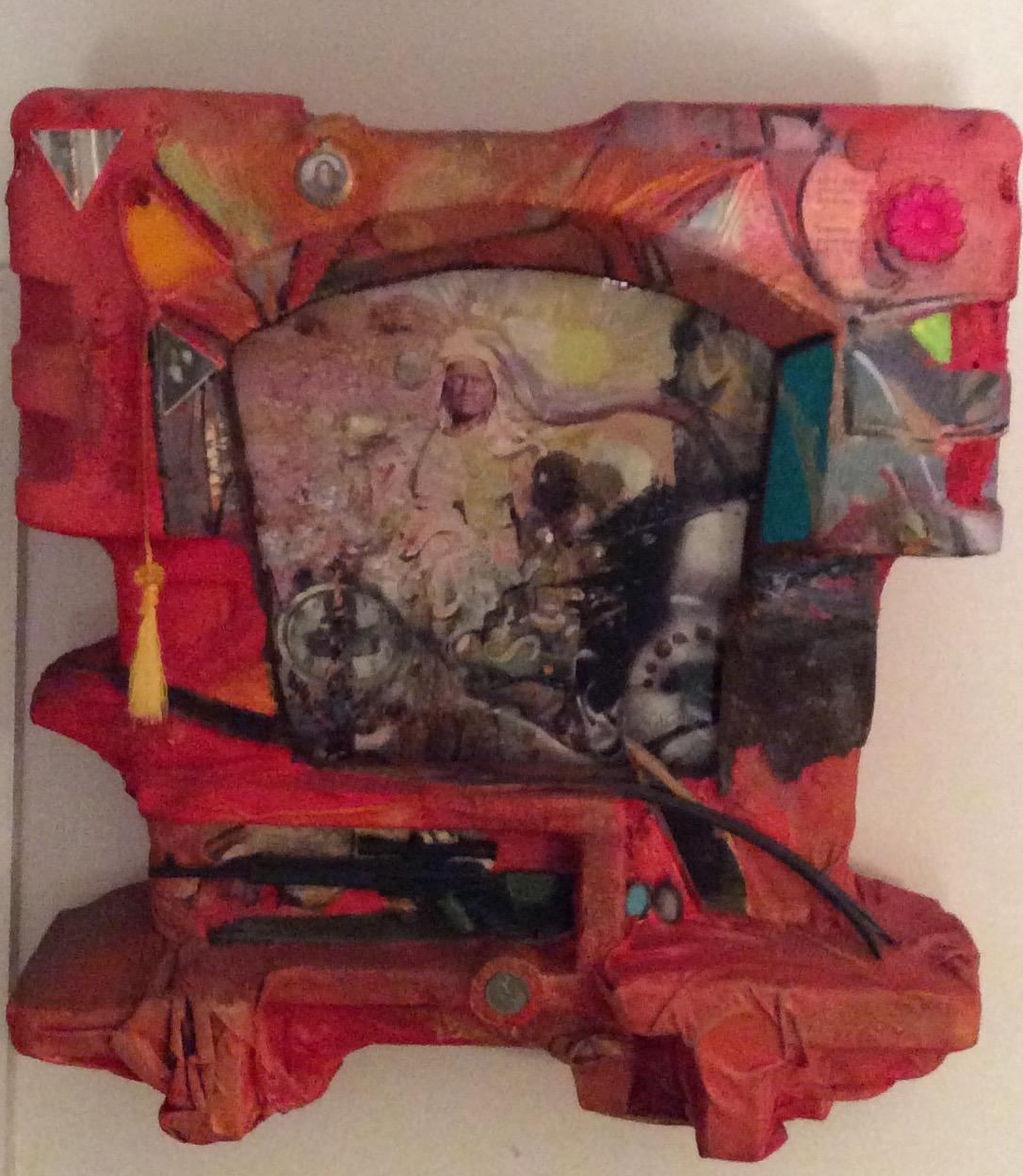 "Survivor Spirit,found objects,acrylic paints on styrofoam, 20"" x17"""