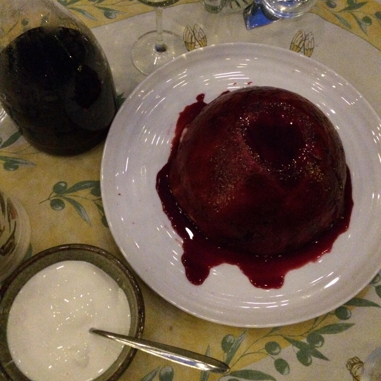 English summer pudding with cream