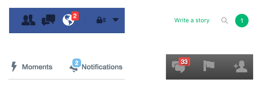 Notification counter in global nav for Facebook, Medium, Twitter and LinkedIn