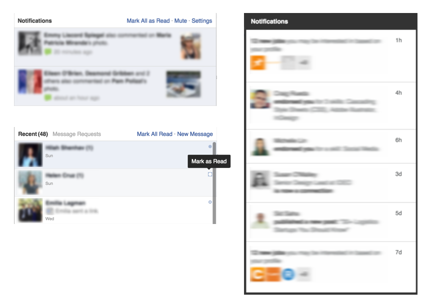 Notifications/Messages drawer for Facebook and LinkedIn
