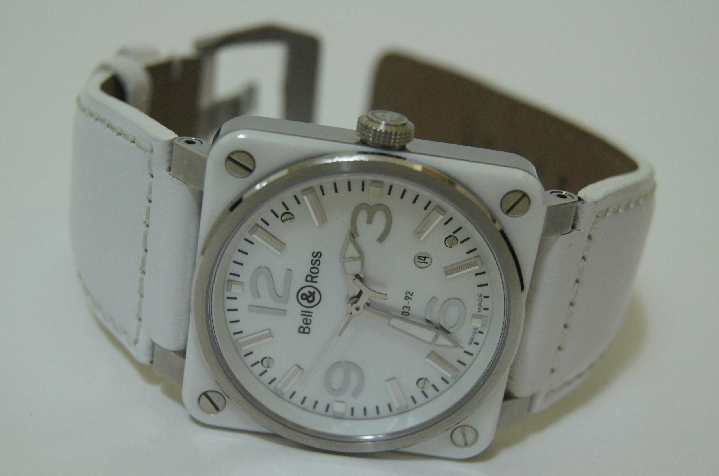 Bell and Ross - BR 03,white ceramic and stainless steel case