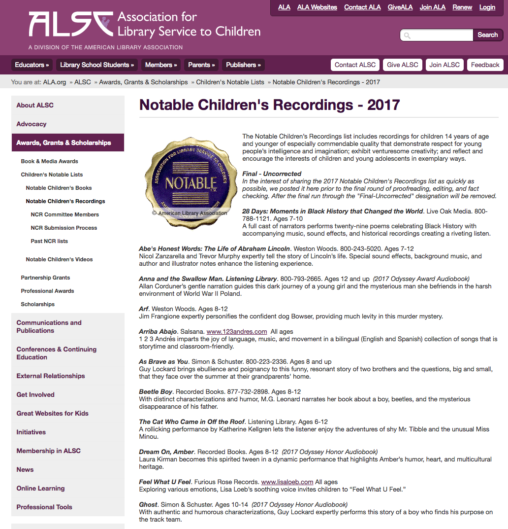 Screengrab from the Association for Library Service to Children in America website