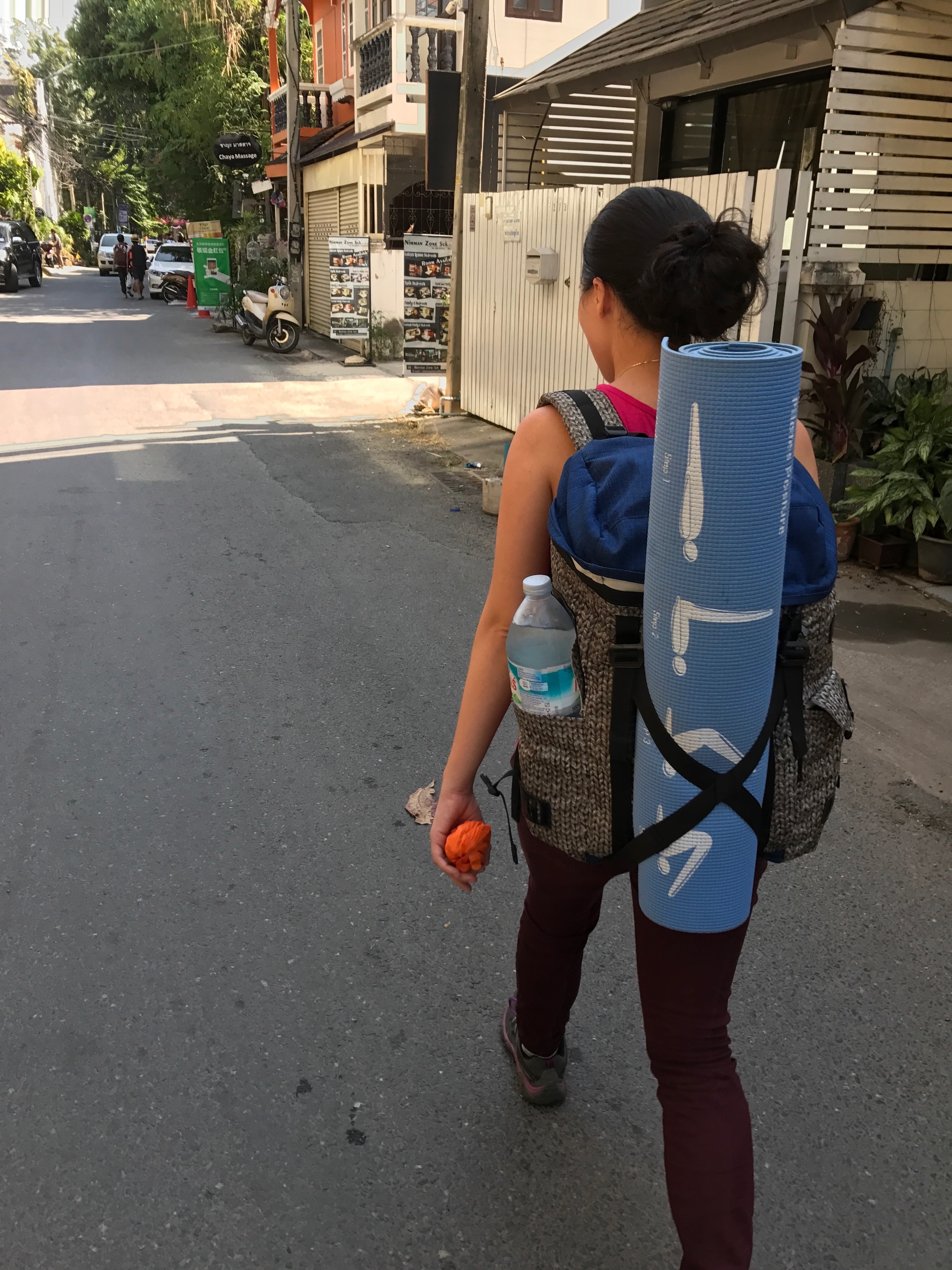 Carrying a yoga mat around...