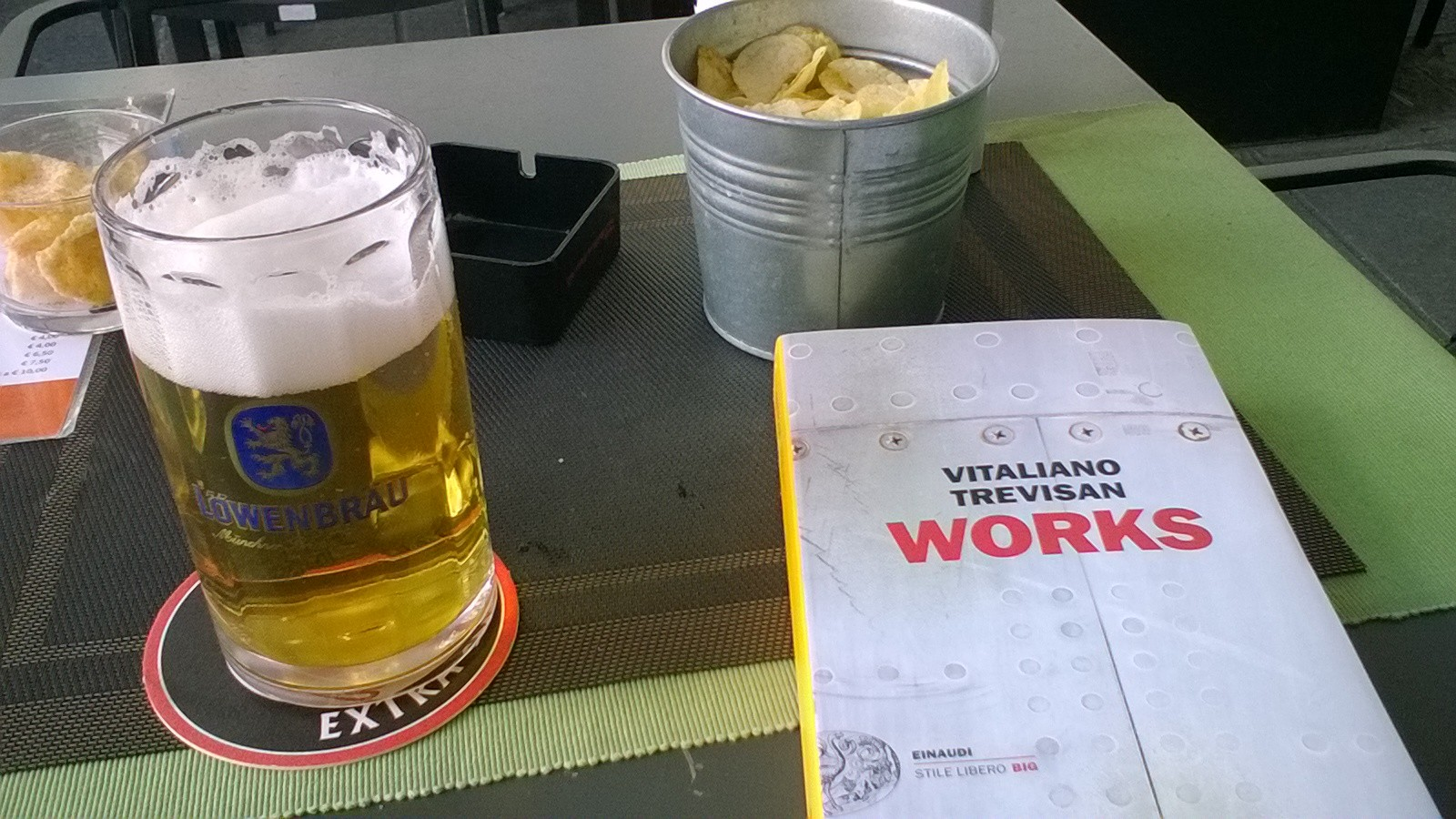 enjoying my free afternoon with cold Oktoberfest beer and a good book...