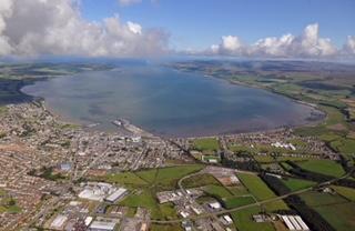 A view north over Stranraer to Loch Ryan
