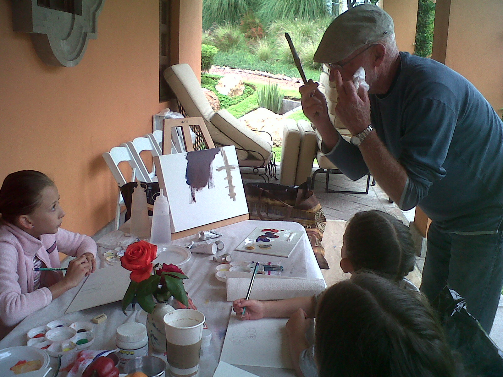 Artist Richard Trumbull with the  Children's Art Foundation  at Little Picasso Art Program, 2017