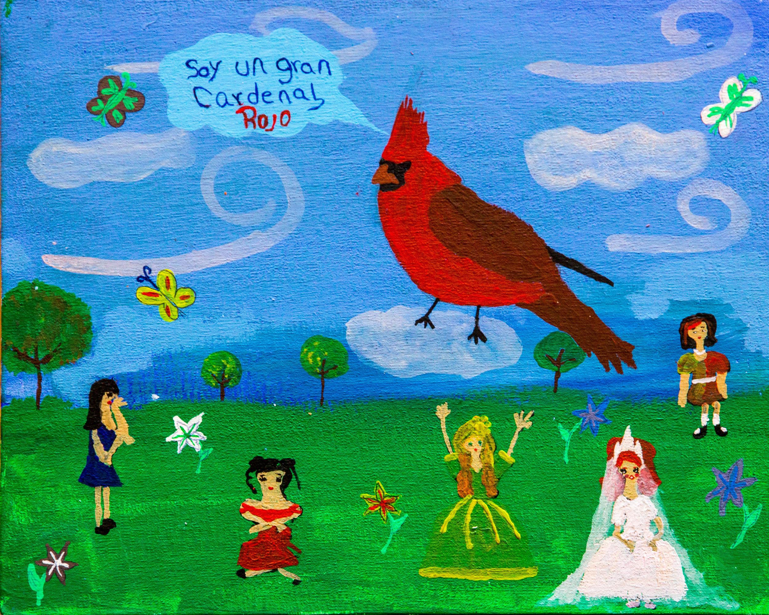 The Great Red Cardinal - Karen Juárez Aguilar, Age 11 (2015)