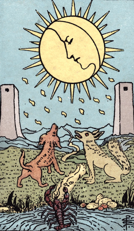 The Moon Rider Waite Tarot Card