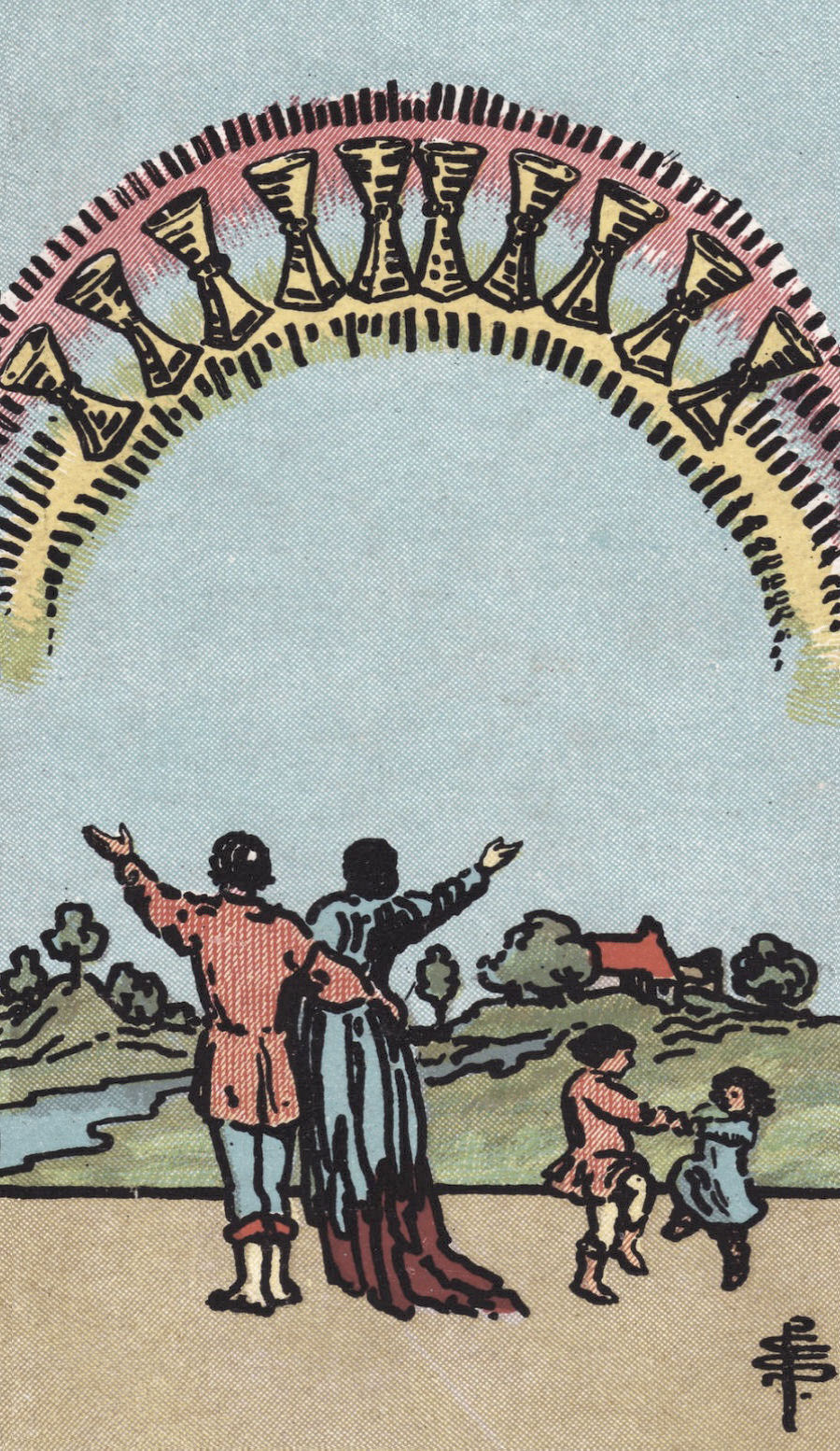The Ten of Cups could reflect that happy family eating pizza in the food court