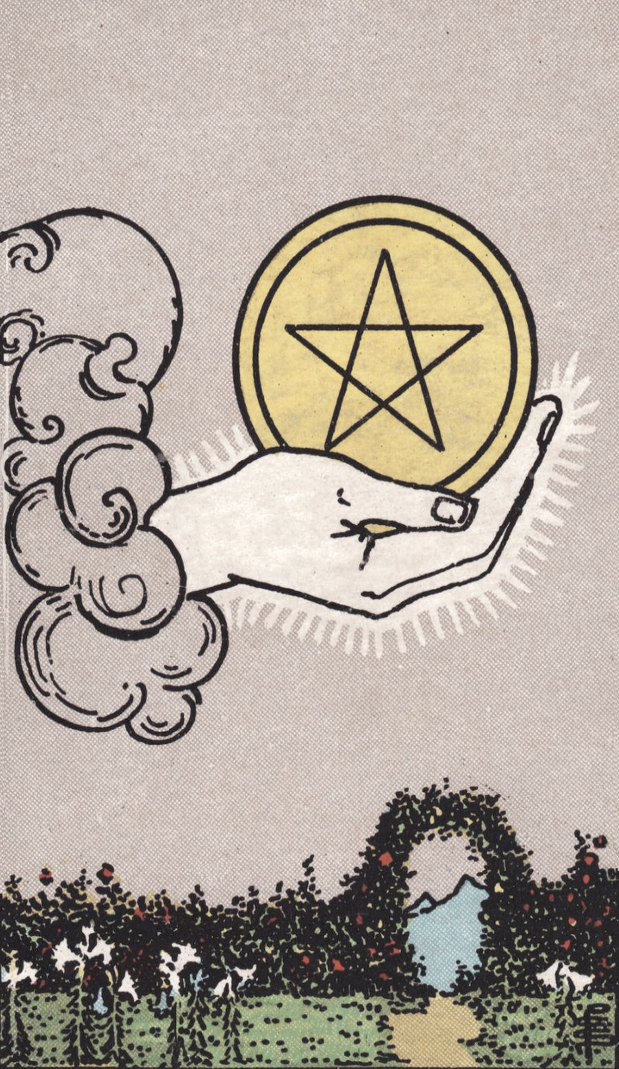 Rider Waite Smith Ace of Pentacles Tarot Card Meaning