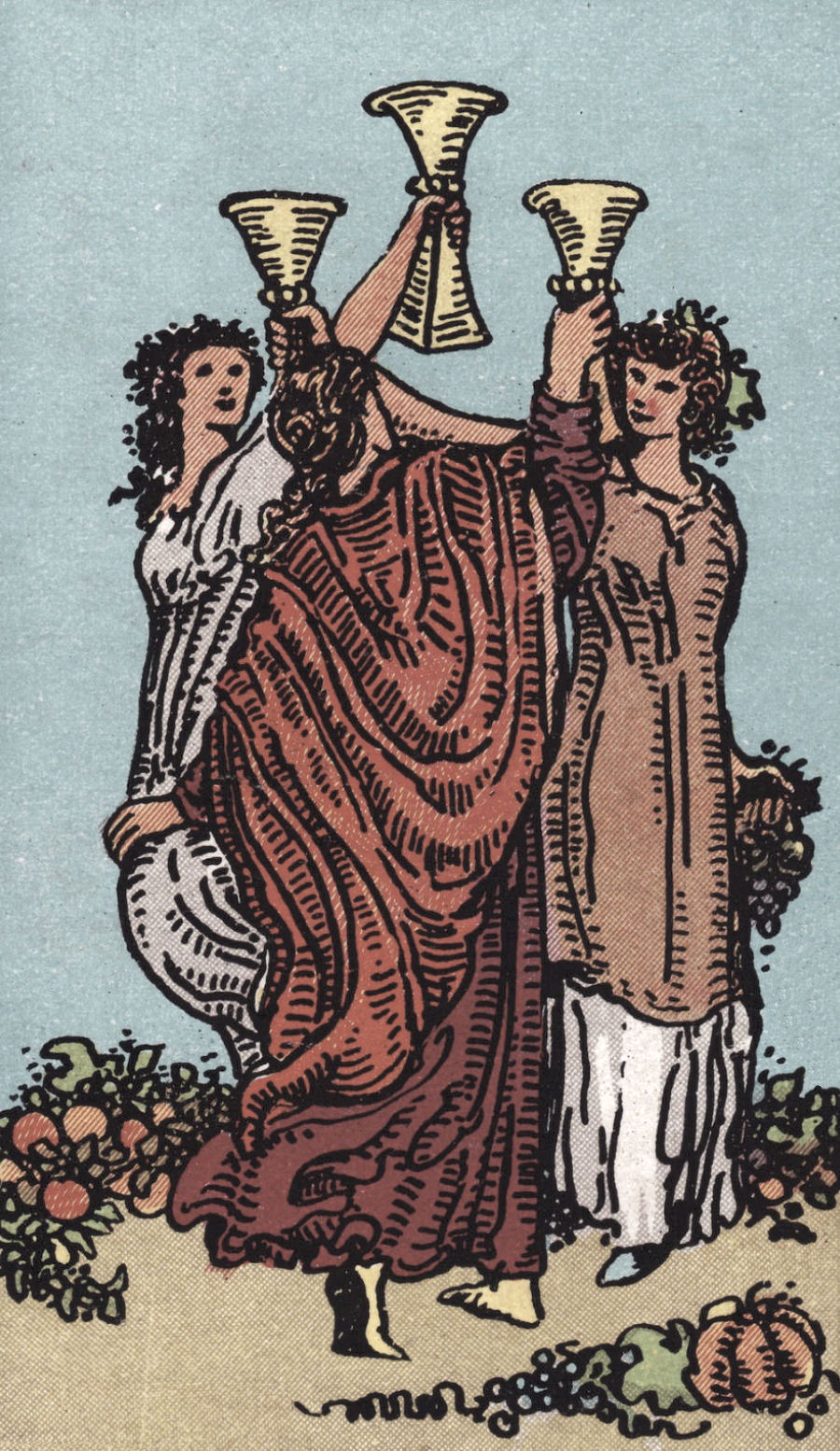 Rider Waite Smith Three of Cups Tarot Card Meaning