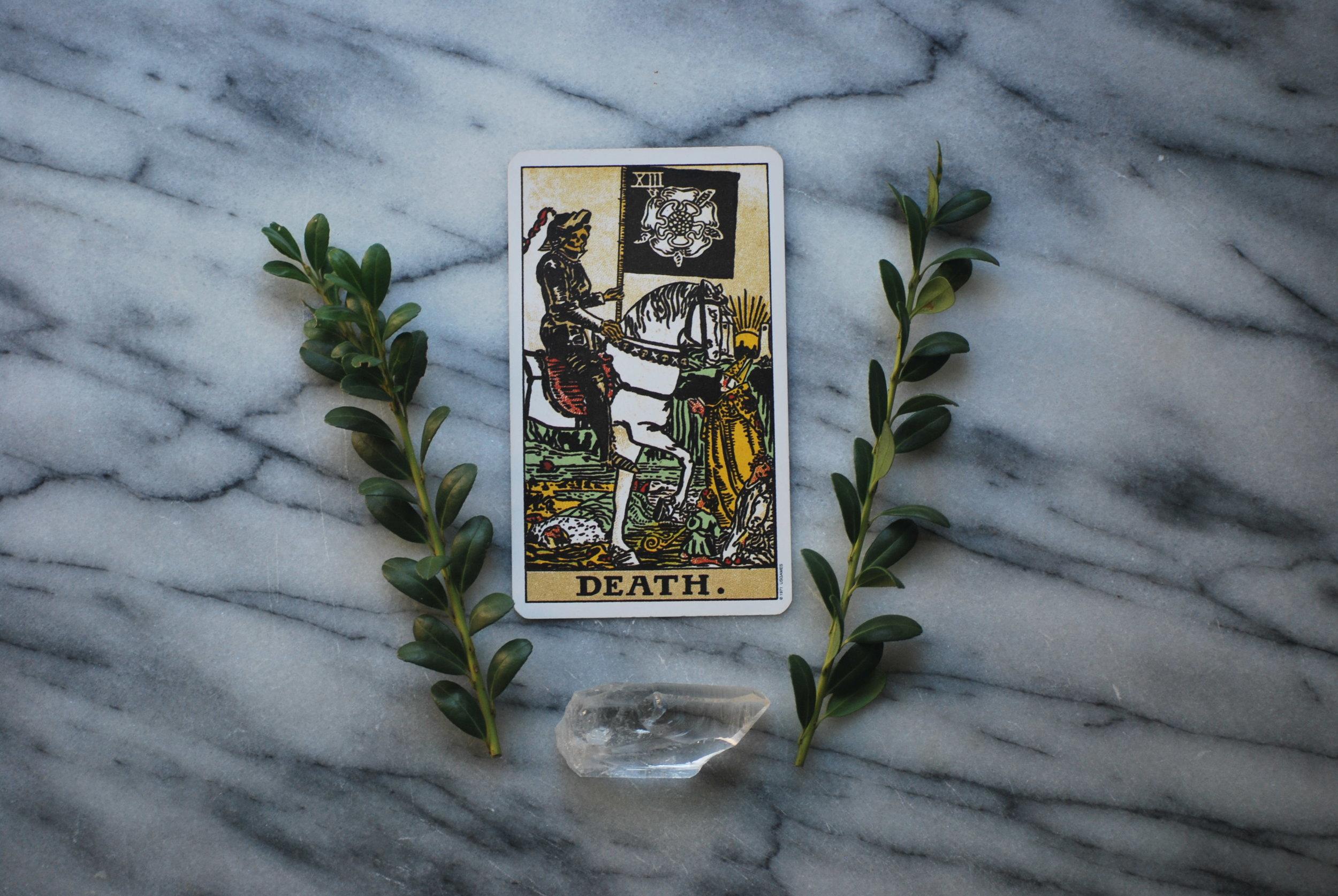 Death Tarot Card with Quartz Crystal
