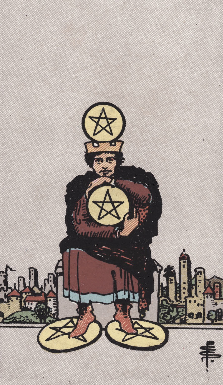 Rider Waite Smith Four of Pentacles Tarot Card Meaning