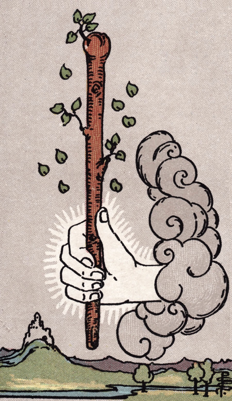 The Ace of Wands - This card is a) a phallic symbol sprouting leaves and b) a representation of an influx of sexual energy. It's the electricity in the air when you're around your crush, the general creative feeling you get at the beginning of a new project. This sexual feeling can be amorphous and channeled into many aspects of our lives. Sexually speaking, it's an encouraging sign to get creative and involved with our sexual expression.