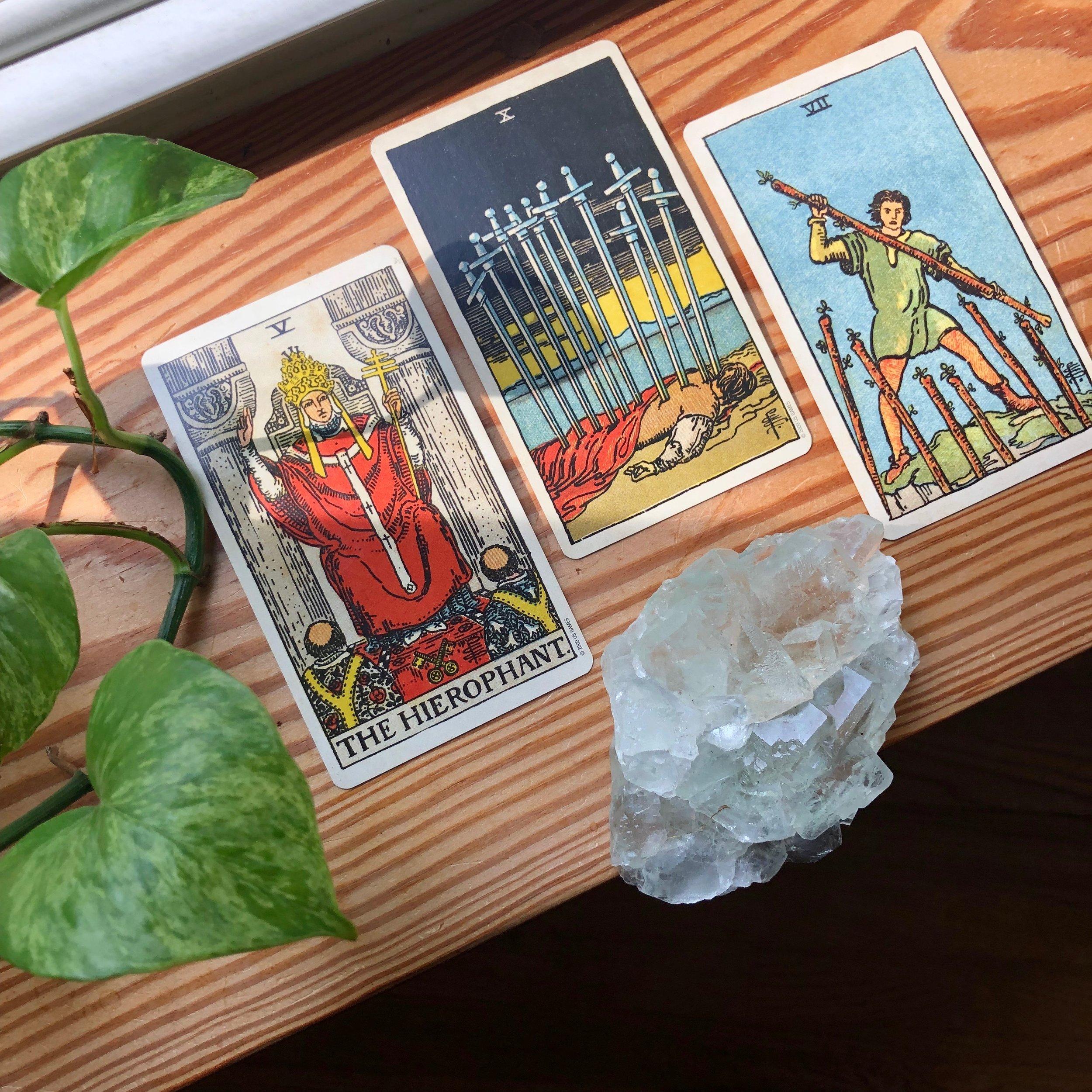 Three Card Reading Rider-Waite Tarot The Hierophant, Seven of Wands, Ten of Swords