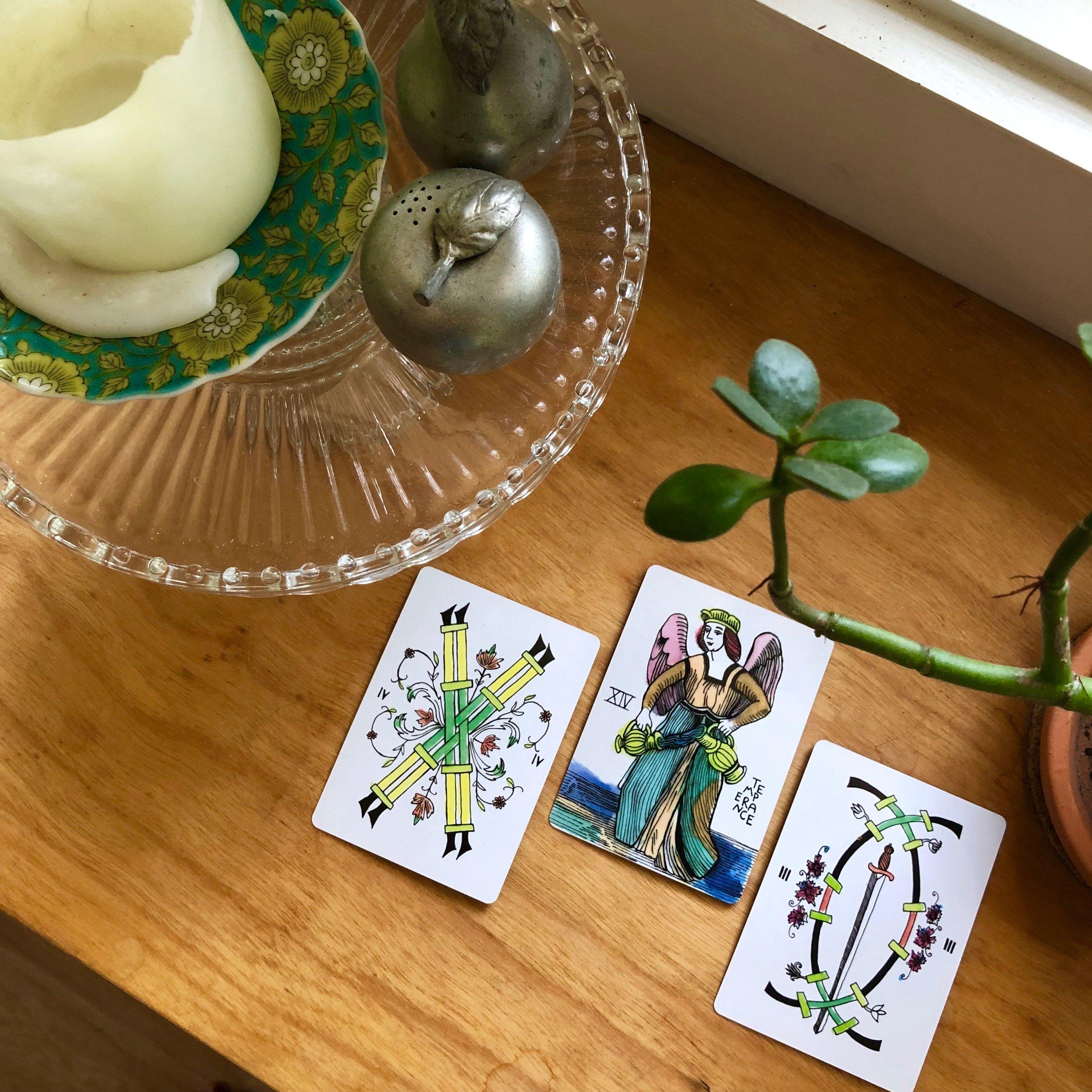Three Card Reading Spirit Speak Apparation Tarot Deck Justice The Hermit Two of Swords