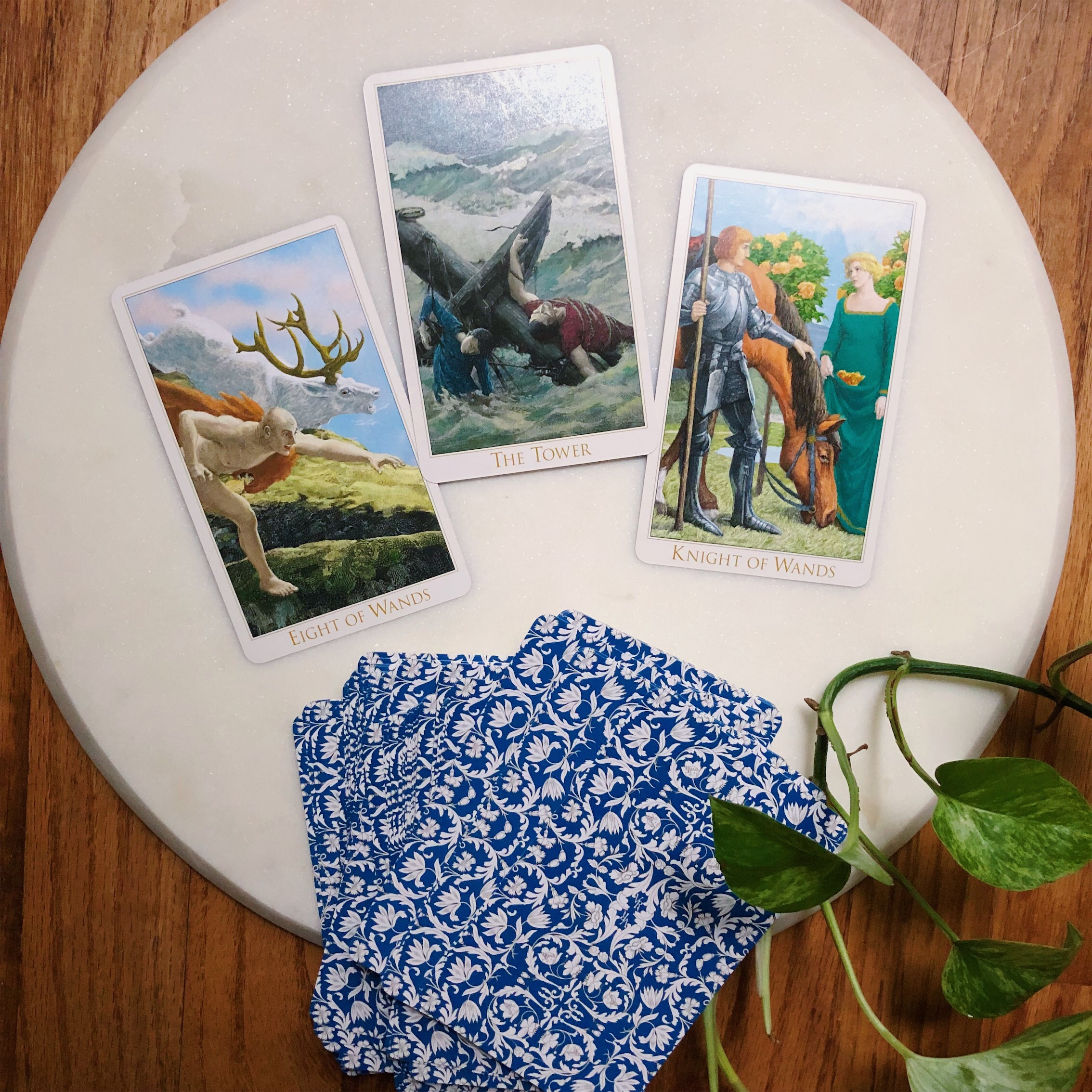 Three Card Reading with Victorian Romantic Tarot The Tower Knight of Wands