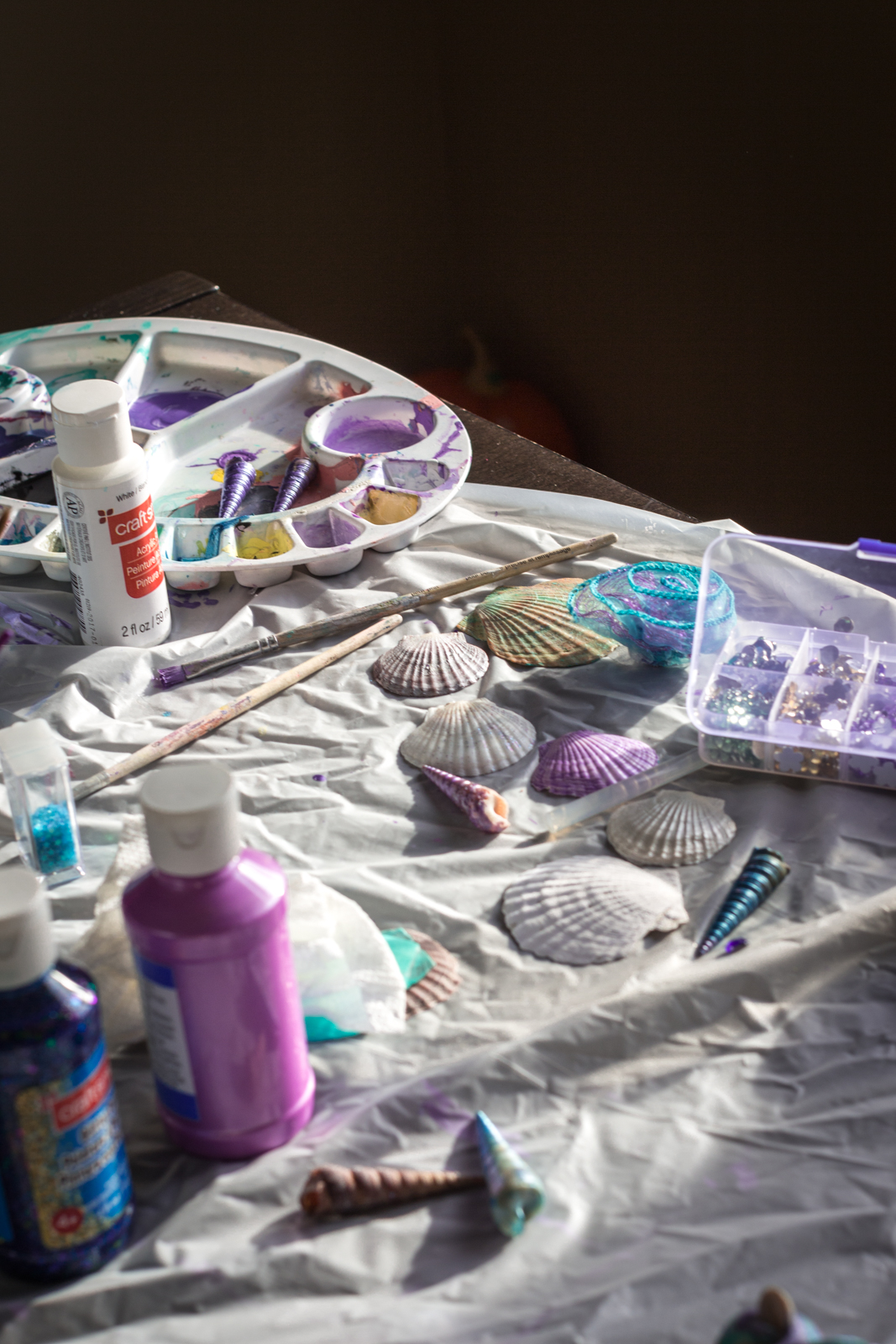 Seashells that were collected during our summer vacation getting painted.