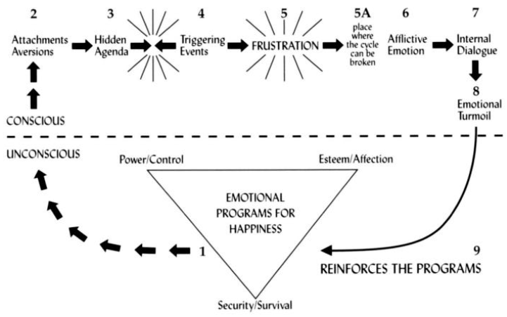 """This diagram is what Keating calls """"The False Self,"""" or our collection of emotional programs for happiness."""