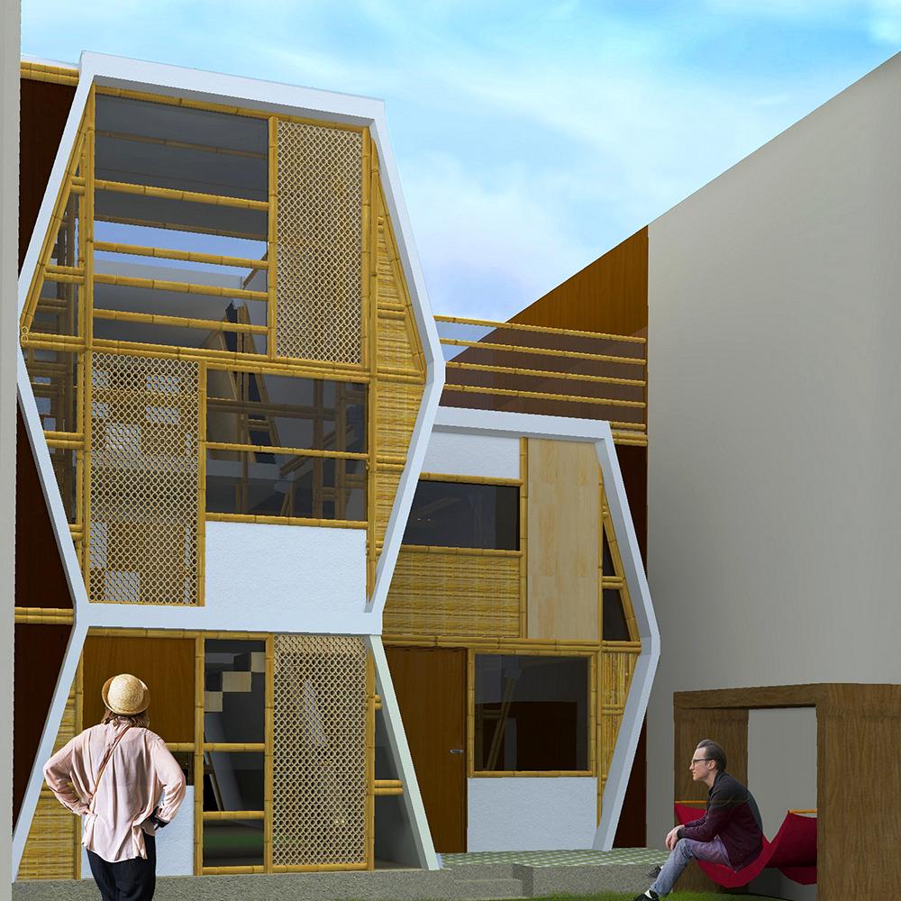 ....Posterior facade - patio ..Fachada posterior - patio....