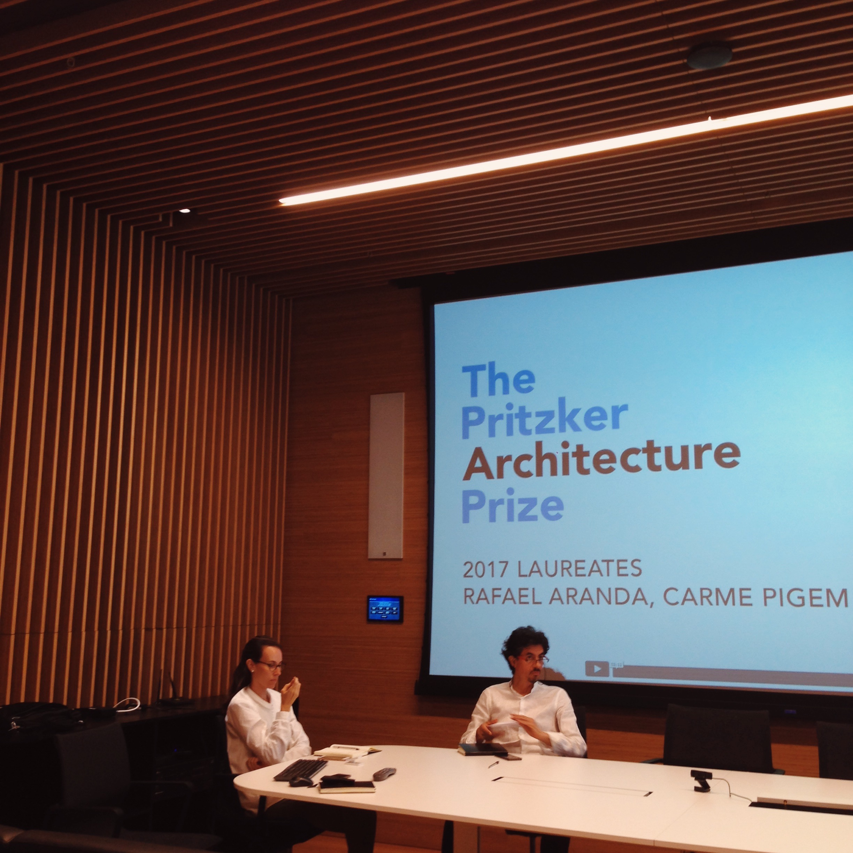 Conversations on the Pritzker Prize 2017. Architects Paula Pujol and Juan Carlos Saenz.Mallol Architects.