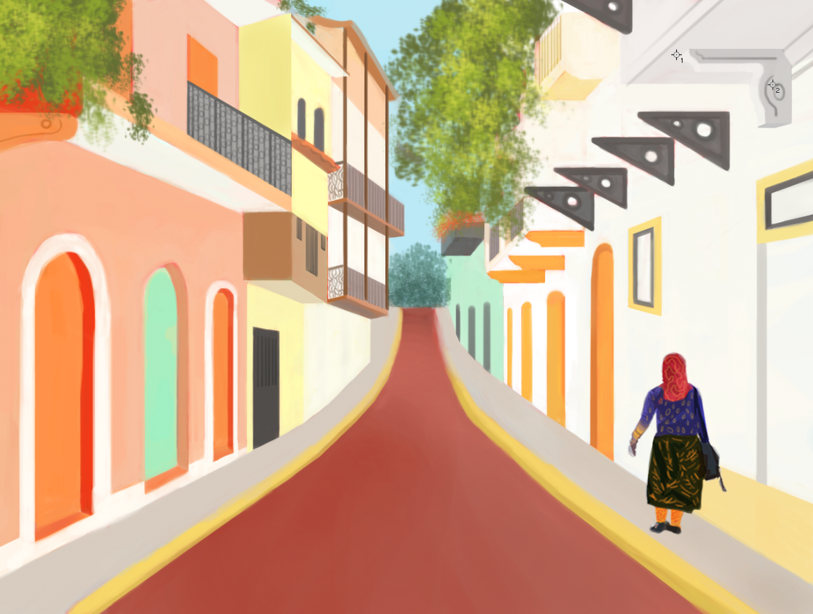 The finished exercise: Casco Viejo, Panama City (2017). Even though I would like to fix several things, I tried to stick to the focus of the practice, which was basically to define a process for digital illustration and to play with color.
