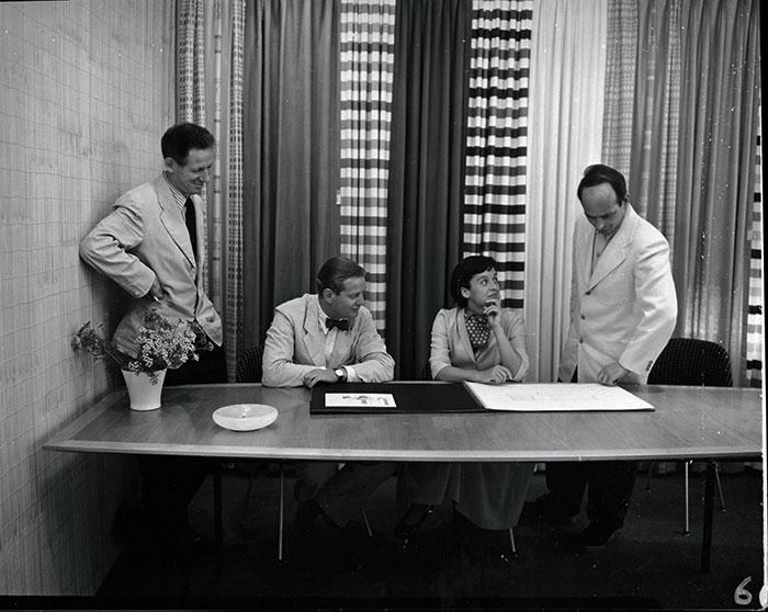 An early 1950s photograph of Herbert Matter, Hans Knoll, Florence Knoll and Harry Bertoia.