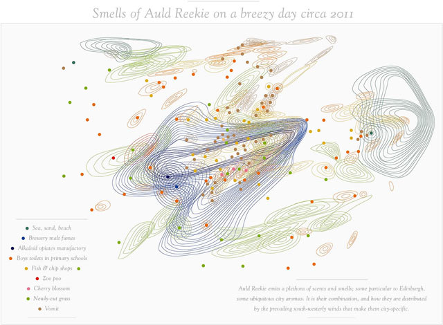 Map illustration depicting the smellscape of Edinburg by Kate McLean. (2011) The dots representing the source of smell and the lines, the extent of smell as distributed by the wind.