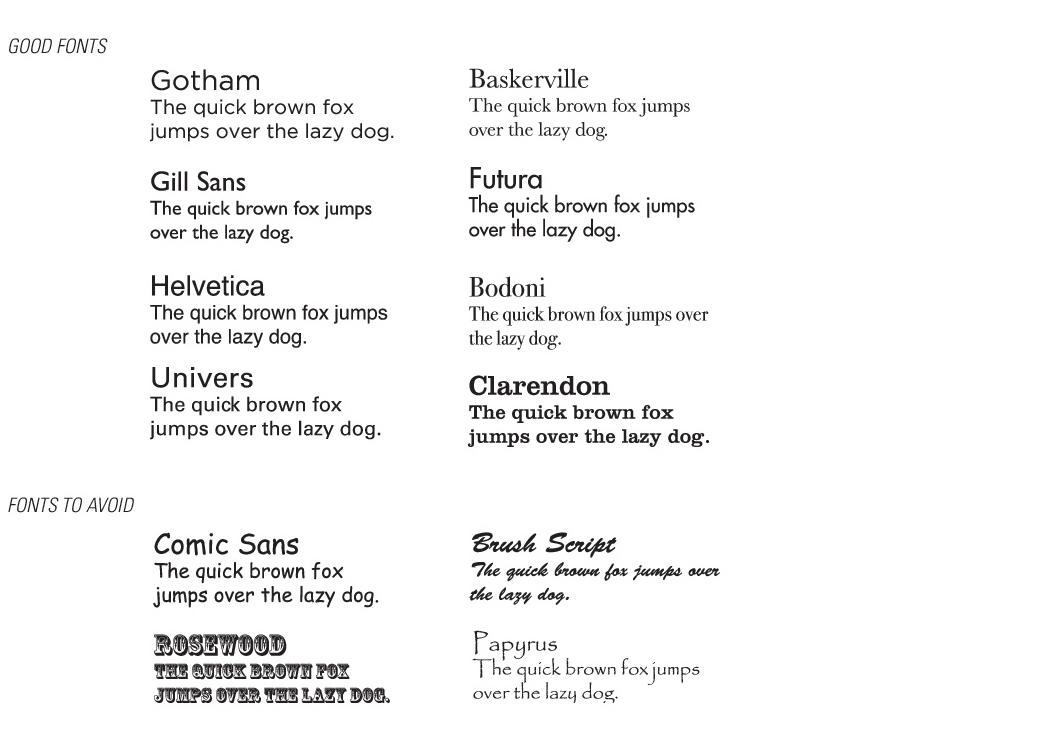Safe typefaces and typefaces to avoid. The Portfolio Handbook. P. 37 (2012)