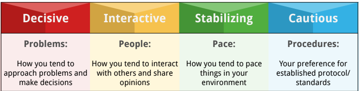 4 components of the behavioral style test - DISC Profile.