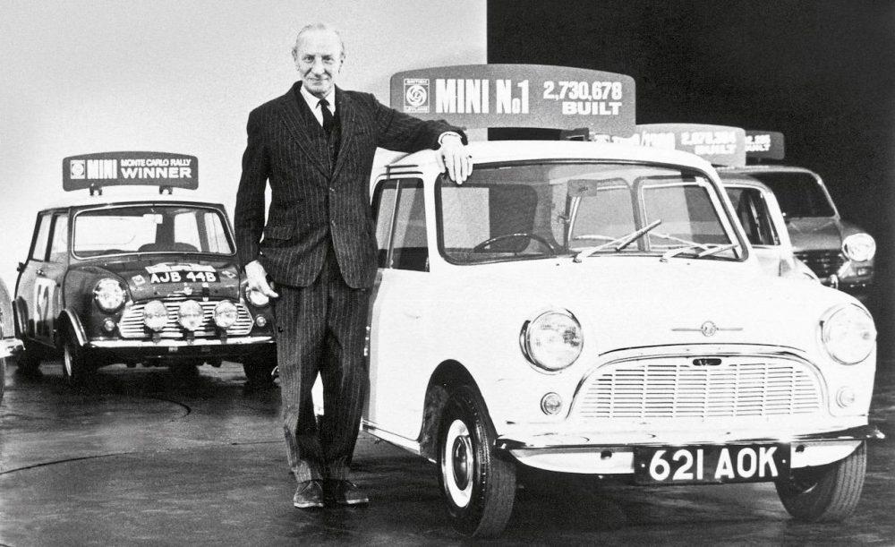 Lead Mini designer Alec Issigonis with the Austin Mini Cooper S.