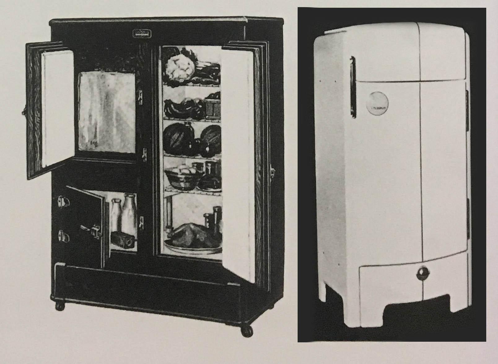 Left: The Leonard Refrigerator (1929). Right: Sears Roebuck Coldspot Refrigerator (1935). Objects of Desire.