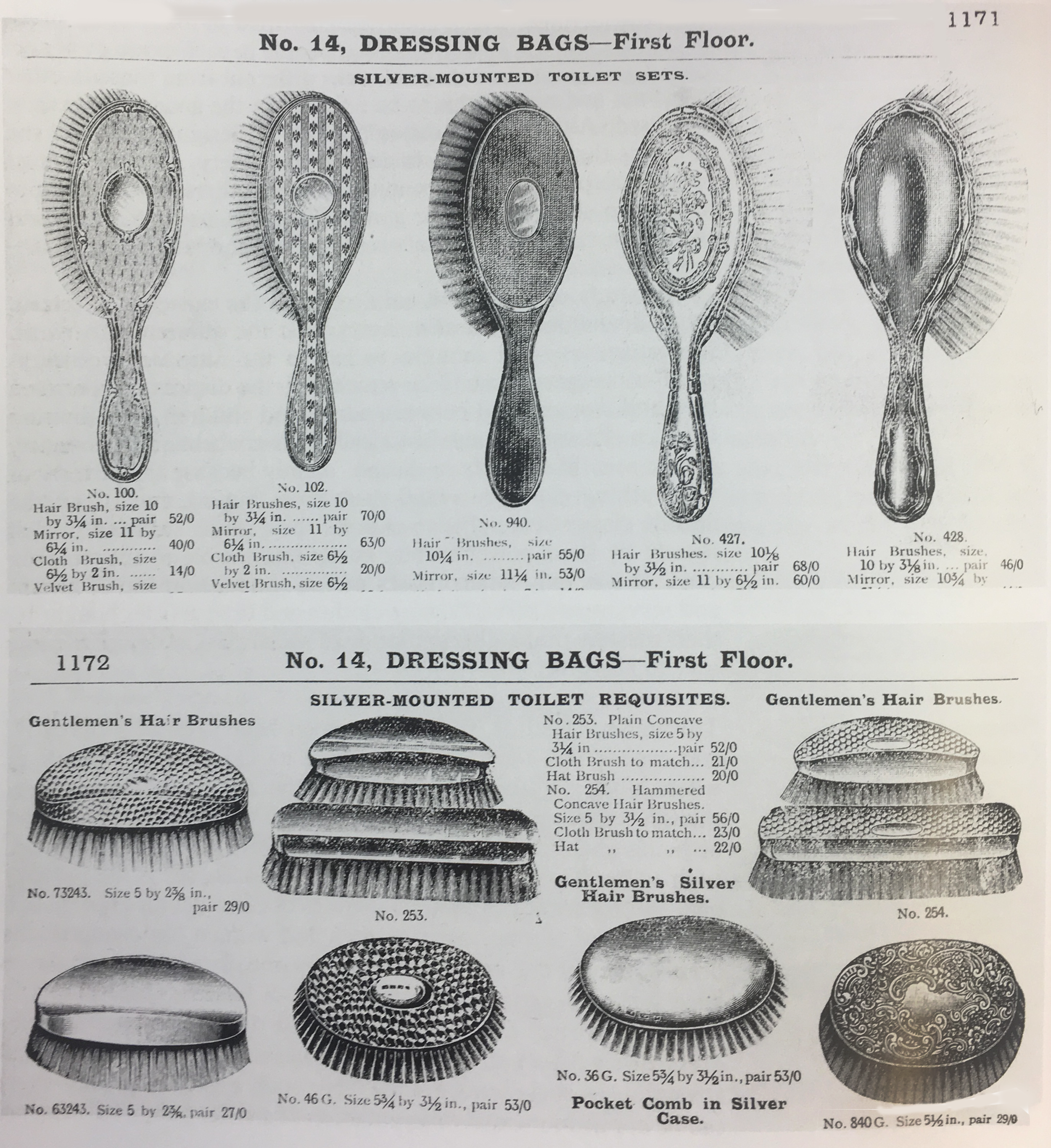 Ladies' hairbrushes and men's hairbrushes. Army and Navy Stores catalogue. (1908)