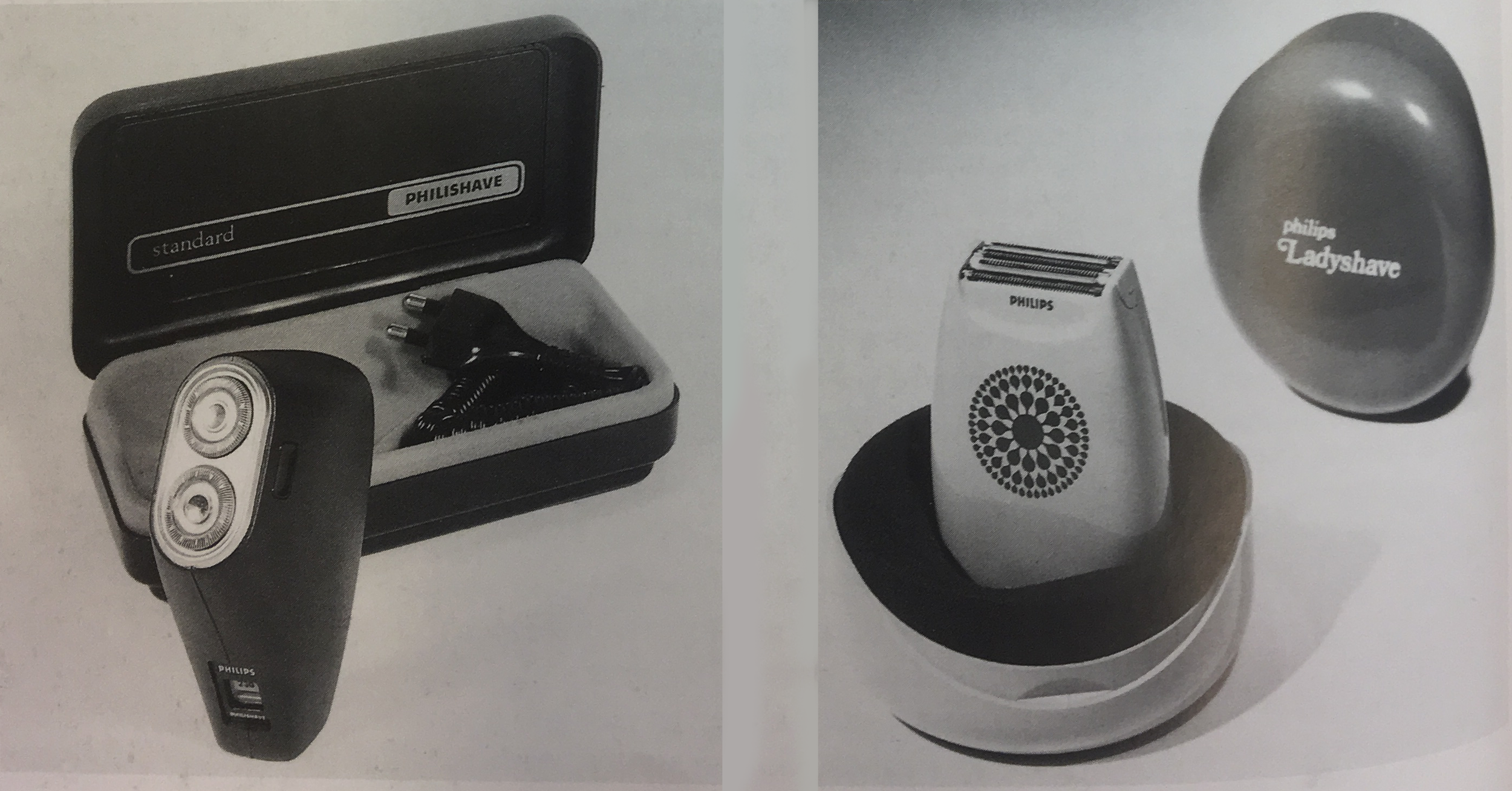 "Philips man's electric razor, and Philips ""Ladyshave"" woman's electric razor. (1980)"