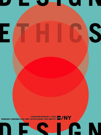 Poster for an AIGA lecture on design and ethics designed for Milton Glaser's class.