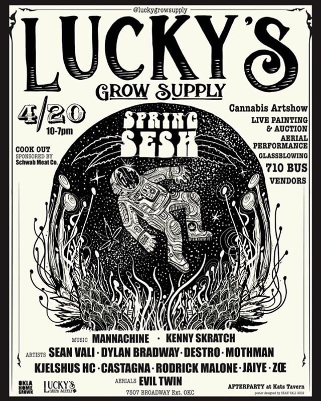 Going to be some fun stuff happening at this shindig! 🌲🌲🌲 @luckysgrowsupply #oklahomaartists #okcart #420 #luckysspringsesh #luckysgrowsupply #788 #art #artshow