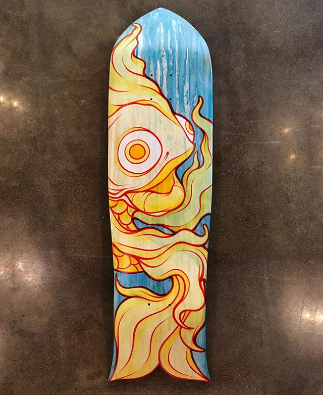 """Be Water My Friend"" - This is my finished submission to the recent skate deck show @plazawalls opened during Skate on the Plaza last Friday. If you get a chance go by and check out the show! #skateboardart #skateontheplaza #koiart #brucelee #bewatermyfriend"