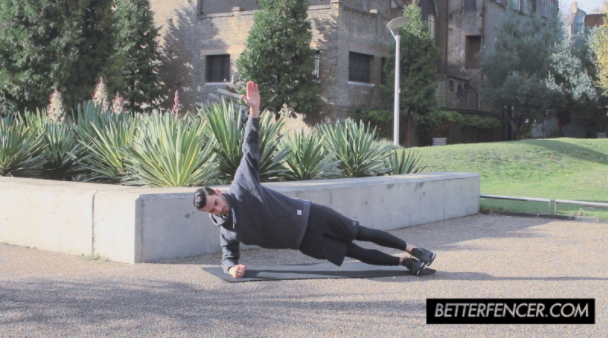 Jason Rogers Doing Lateral Plank Exercise For Fencing