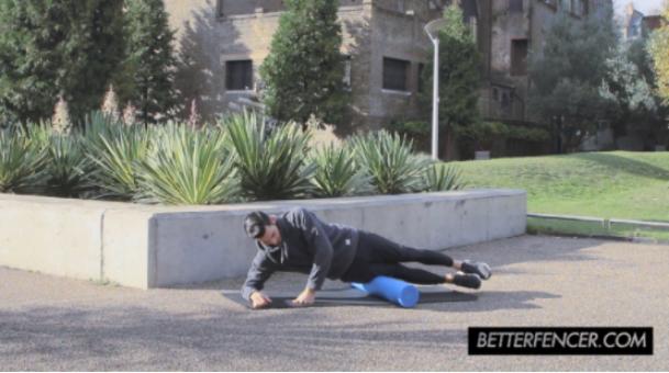 Jason Rogers Doing Foam Roller Exercise for Fencing