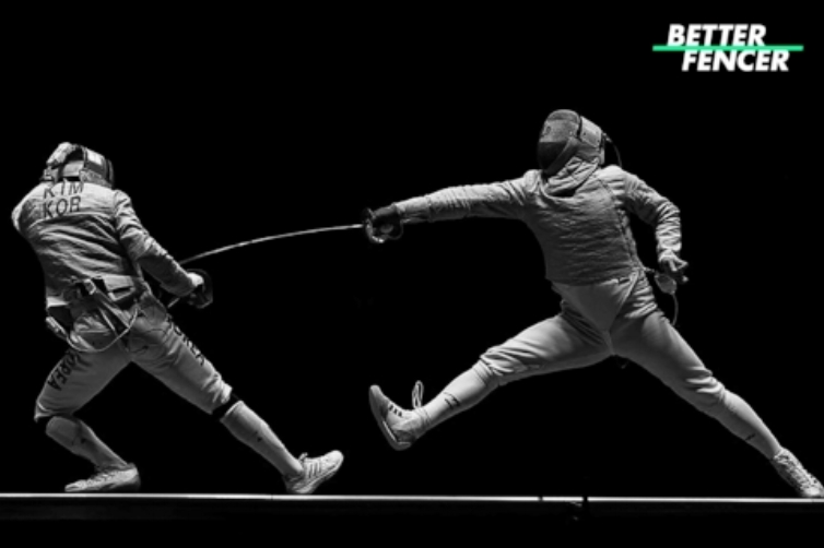 Sabre fencer pulling distance trying to escape opponent's attack