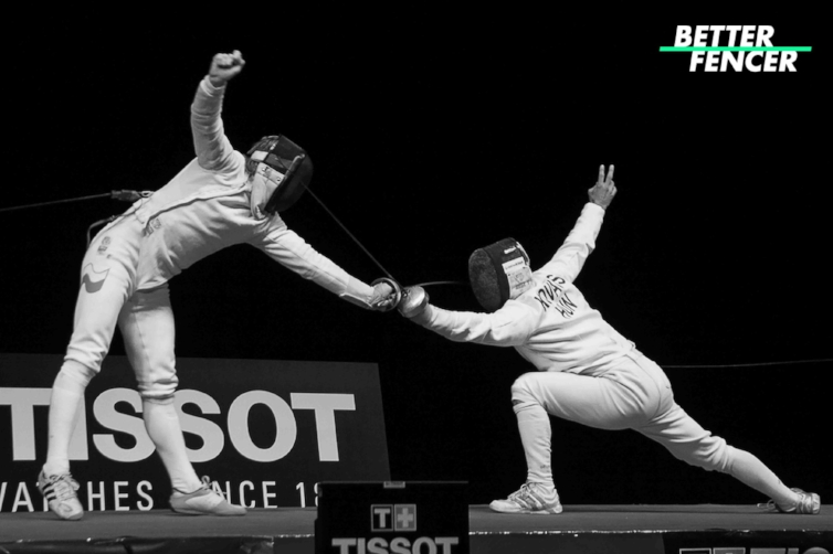 Two epee fencers attempting to perform a close out on each other