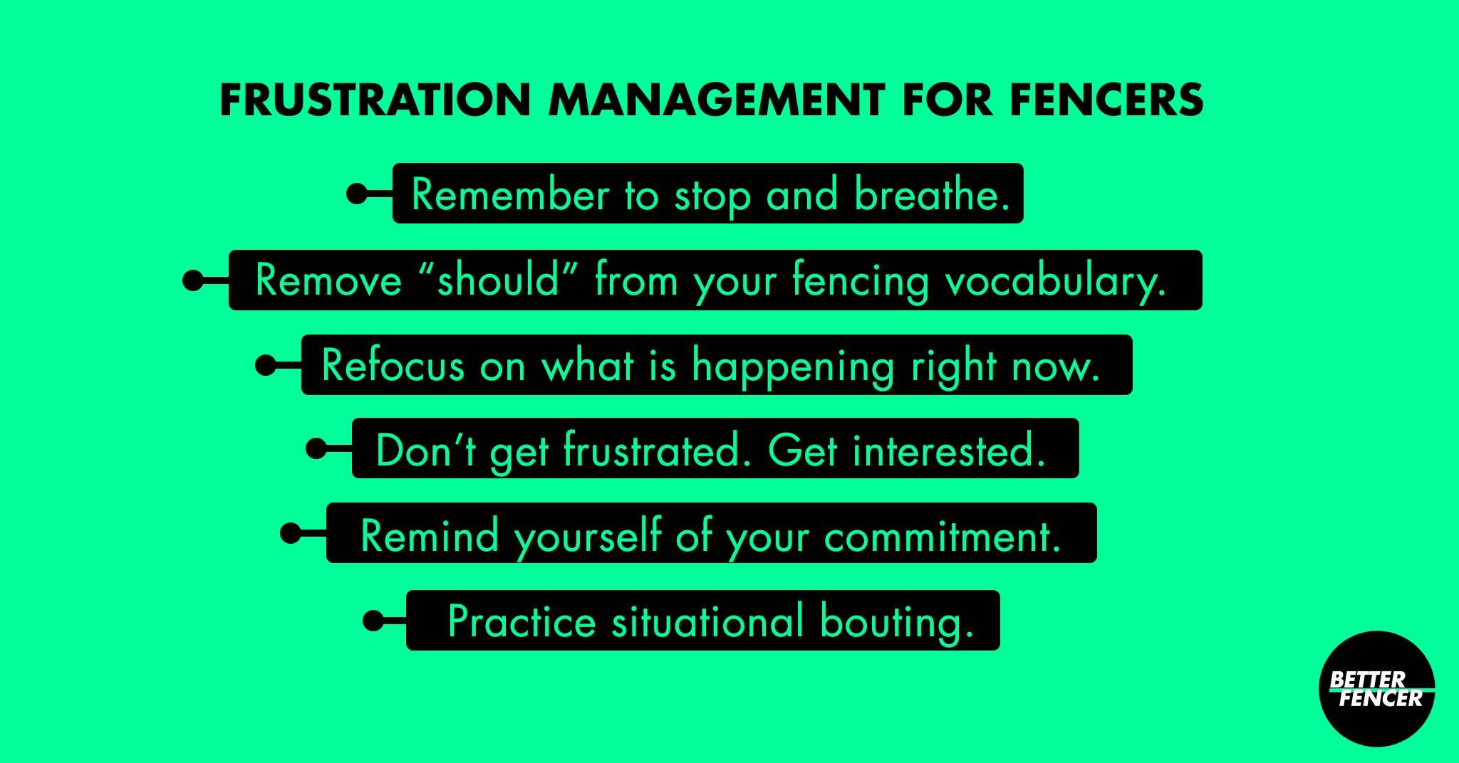 Frustration Mangement Guidelines for Fencers