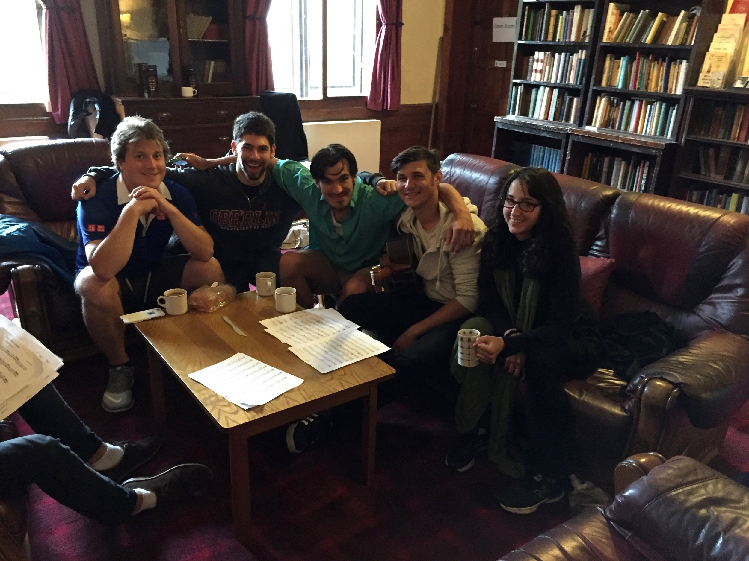 Hanging in the Cathedral's common room: Stephen Fazio, Collin Sterne, Mohit Dubey, Lenny Ranallo and his girlfriend, Sarah.