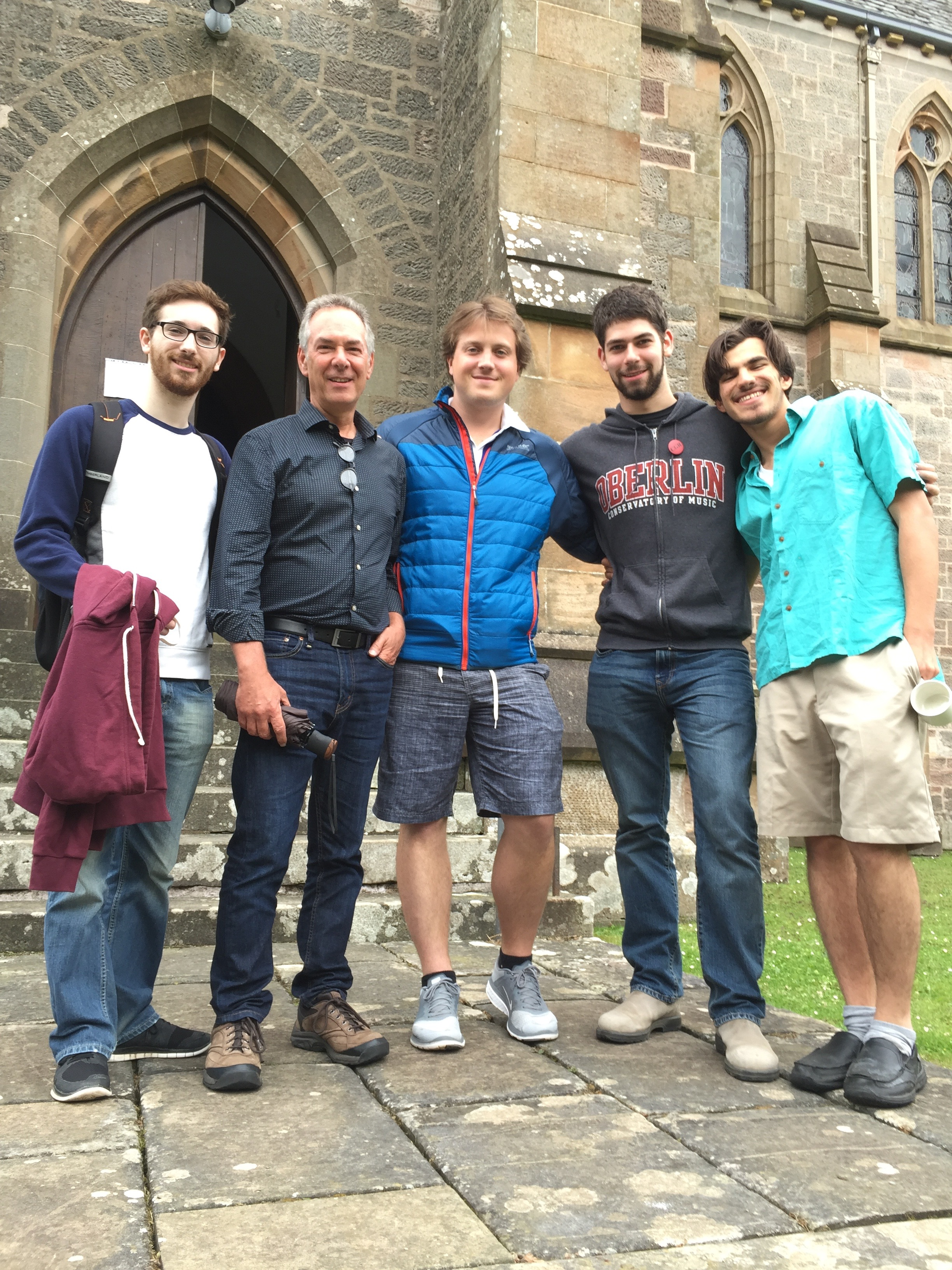 With some of the studio in front of the Cathedral: Brian King, Stephen Fazio, Collin Sterne and Mohit Dubey.
