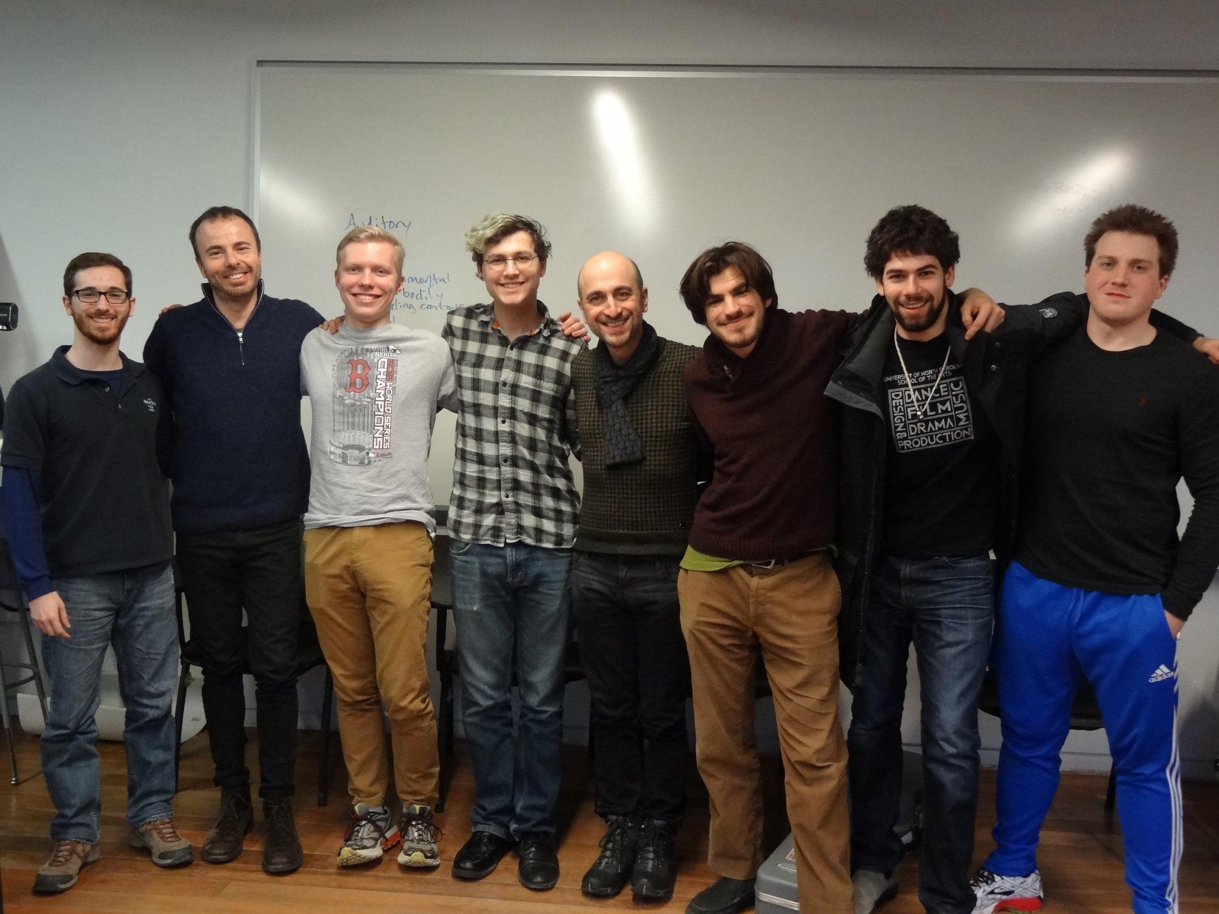 Brian King, Lorenzo Micheli, Aidan Lippke, Jonathan Bodian, Matteo Mela, Mohit Dubey, Collin Sterne and Stephen Fazio, after master class.