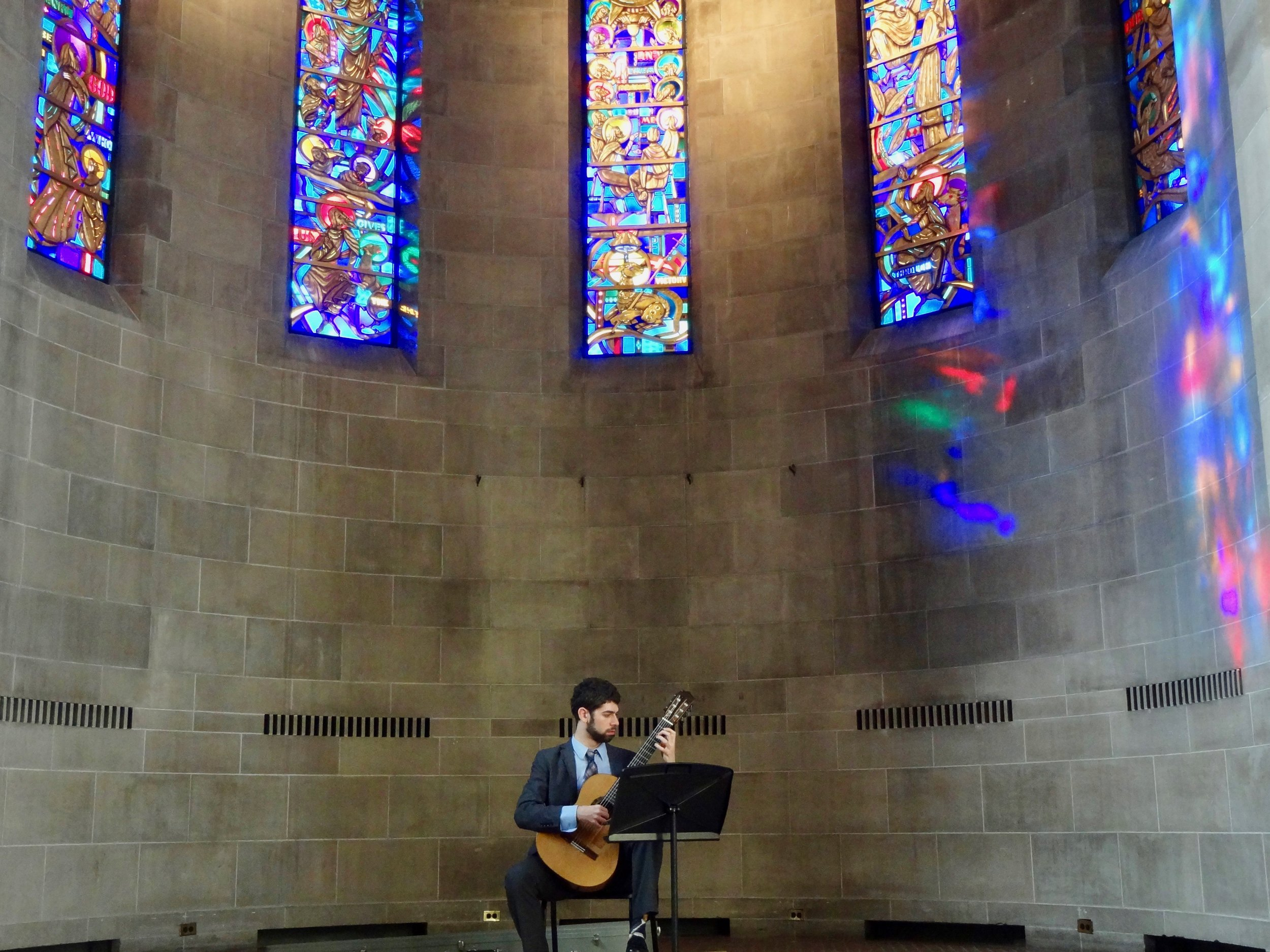 Note the prism-rainbow effect on the wall. Fairchild Chapel can be a magical place to play in.